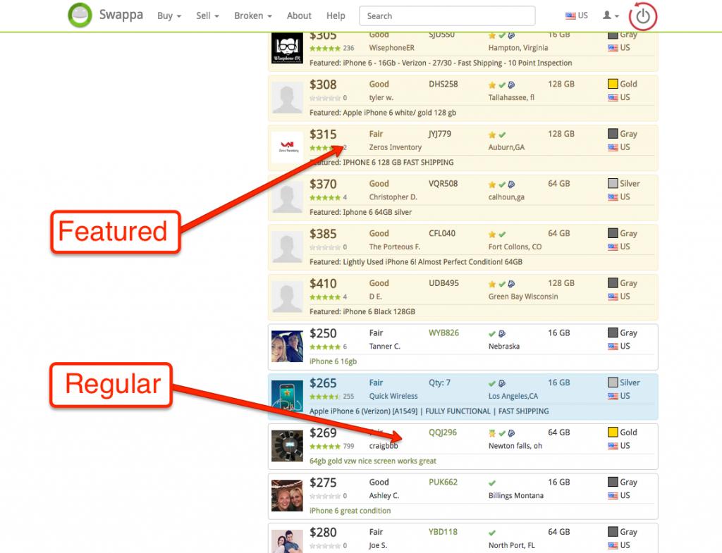 Featured vs. Regular Listings