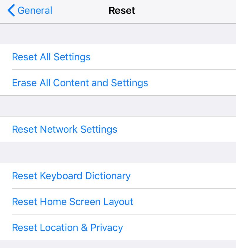 Reset Network Setting