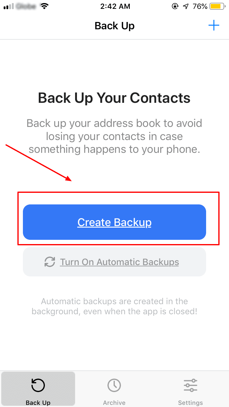 Create iPhone Contact Backup