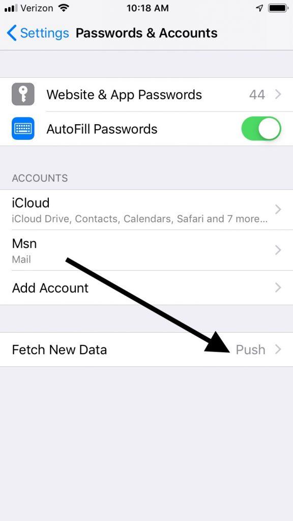Fetch New Data Push Option