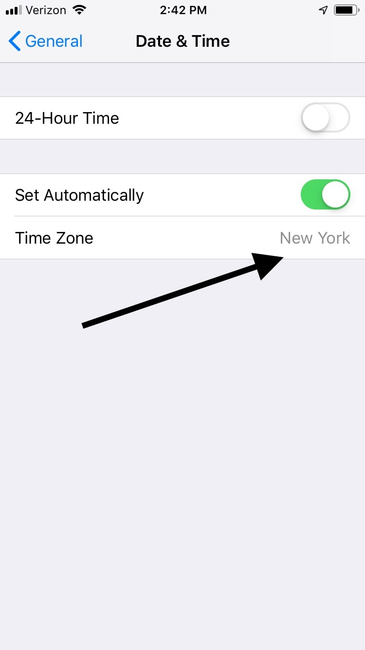 Set Time Zone on iPhone