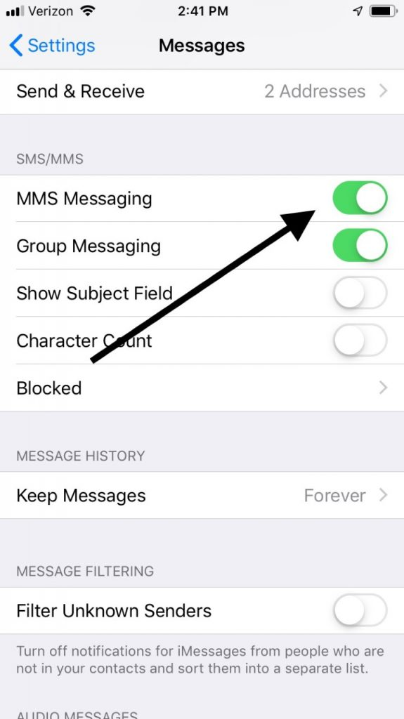 Turn on MMS Messaging