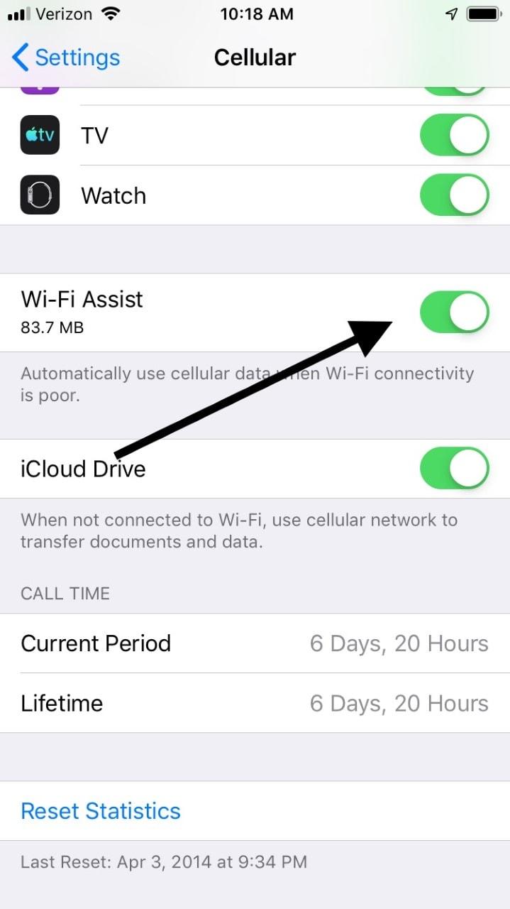 iPhone Wi-Fi Assist