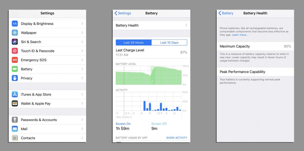 iPhone Battery Health in iOS