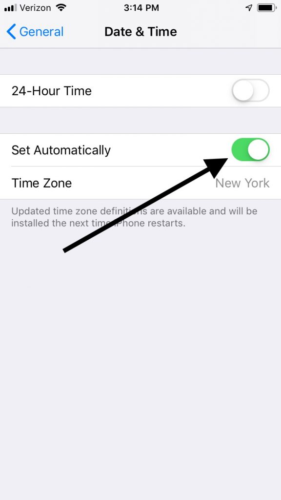 Set Time Automatically for iMessage Activation Error