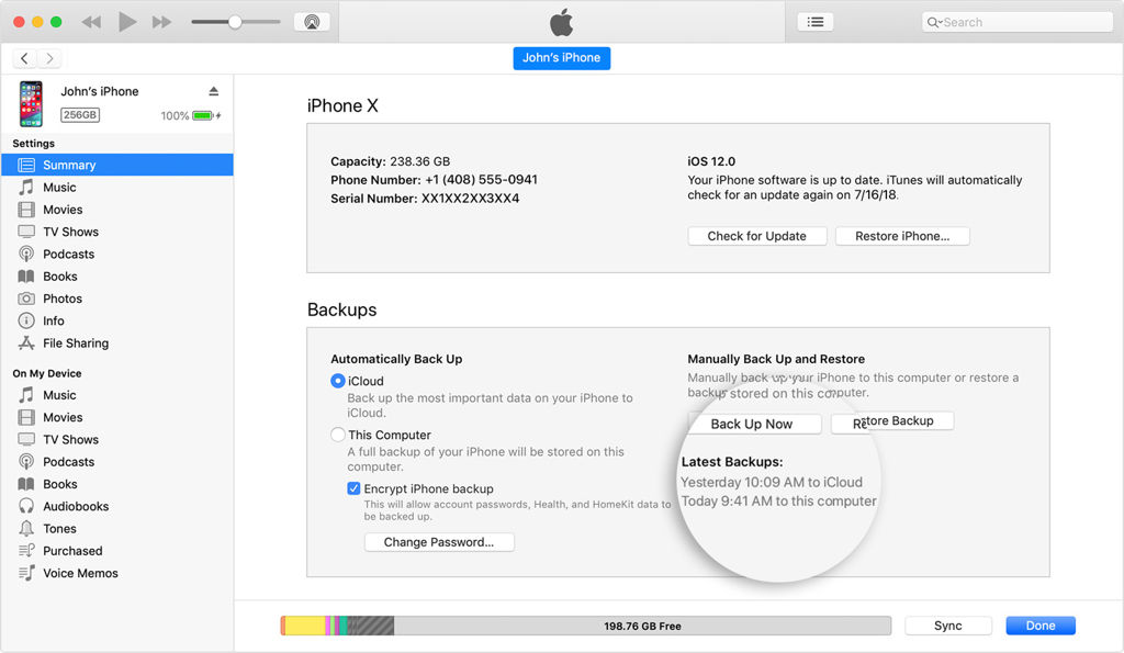 iPhone backup from iTunes