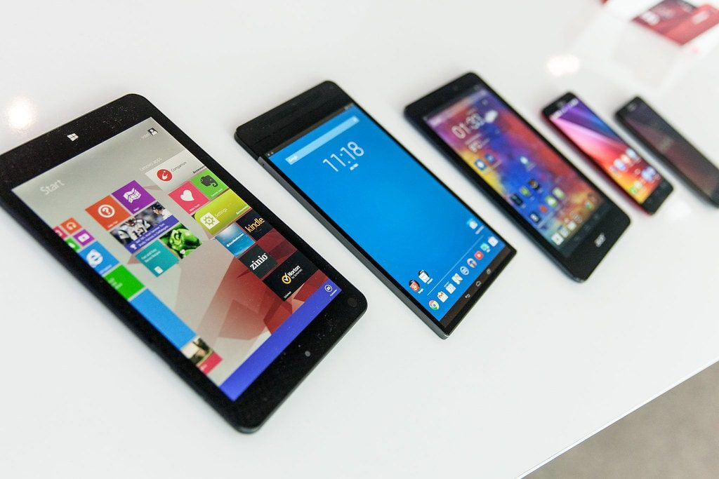 Smartphones on display
