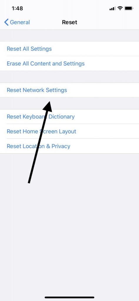 Reset Network Settings for No iPad Sound