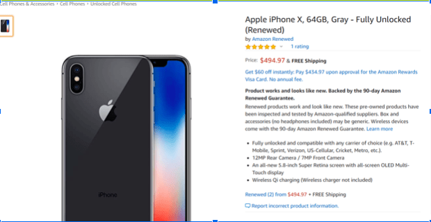 Buy Refurbished iPhones on Amazon