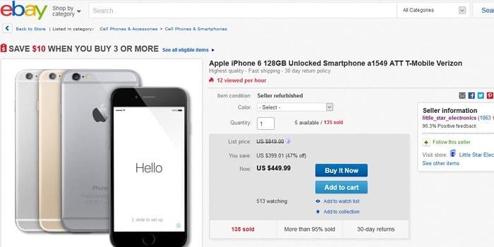 eBay Sells Used iPhones