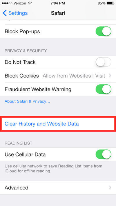 Clear iPhone Browsing Data