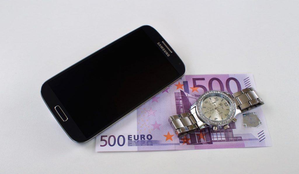 Samsung Galaxy Phone and Cash