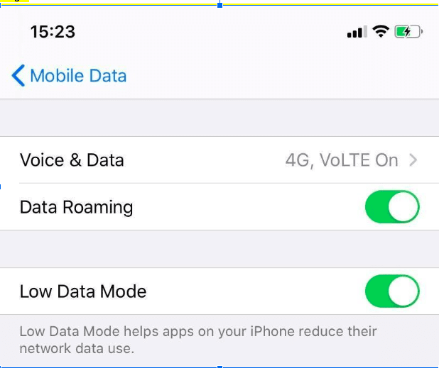 iPhone Low data mode