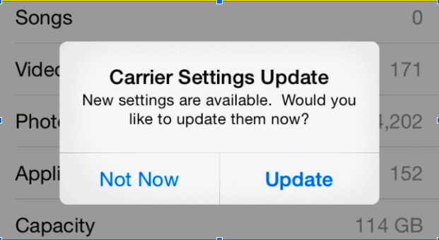 iPhone Update carrier settings
