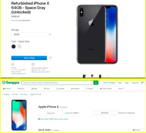 Apple vs Swappa Refurbished price