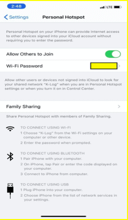 Personal hotspot on newer iPhone