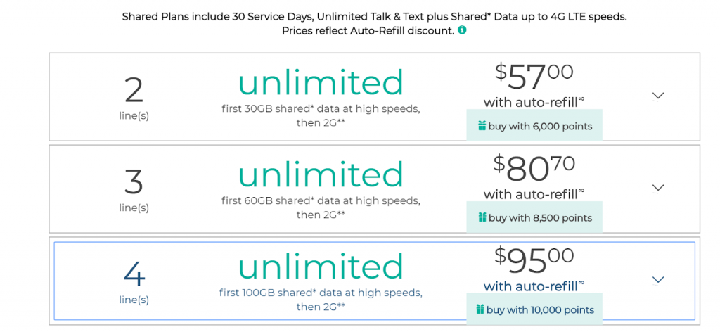 Total Wireless Shared Plans