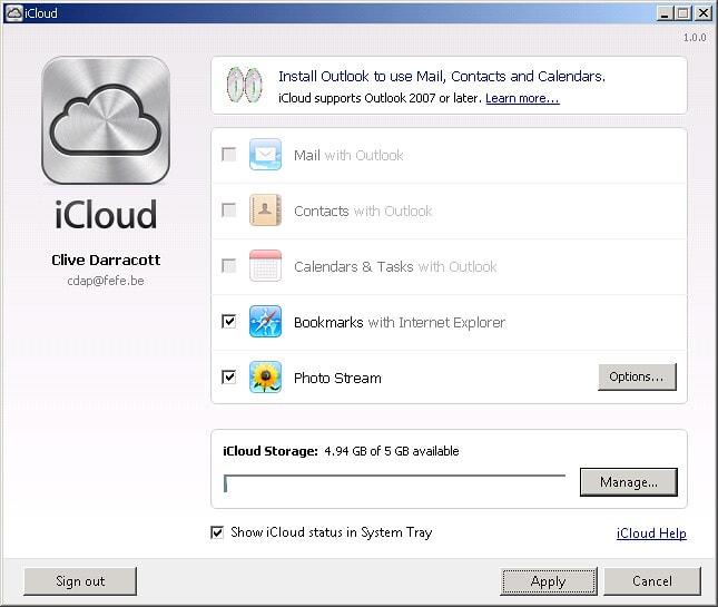 Storage on iCloud Drive on Windows