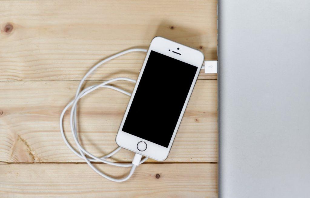 iPhone plugged in via USB