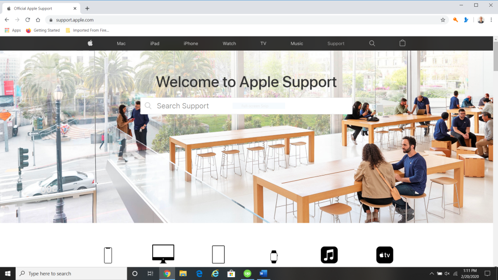 Apple Support Website