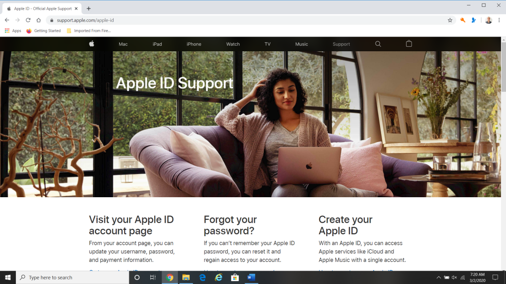 My Apple ID Webpage