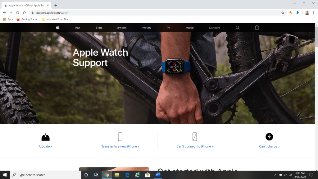Support for Your Apple Watch