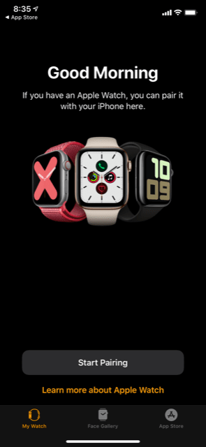 The Apple Watch App on iPhone